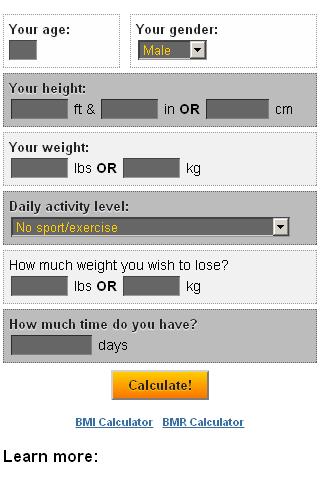 Weight Loss Calculator- screenshot