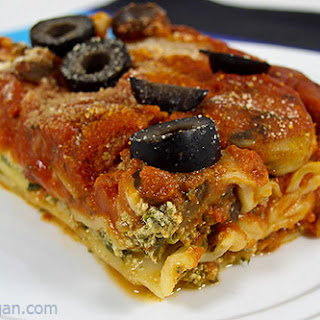 Easy Vegan Spinach and Mushroom Lasagna.