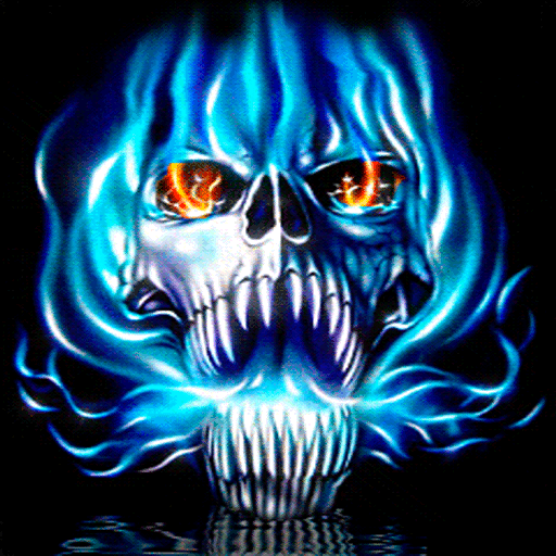 blue flames skull flame - photo #26