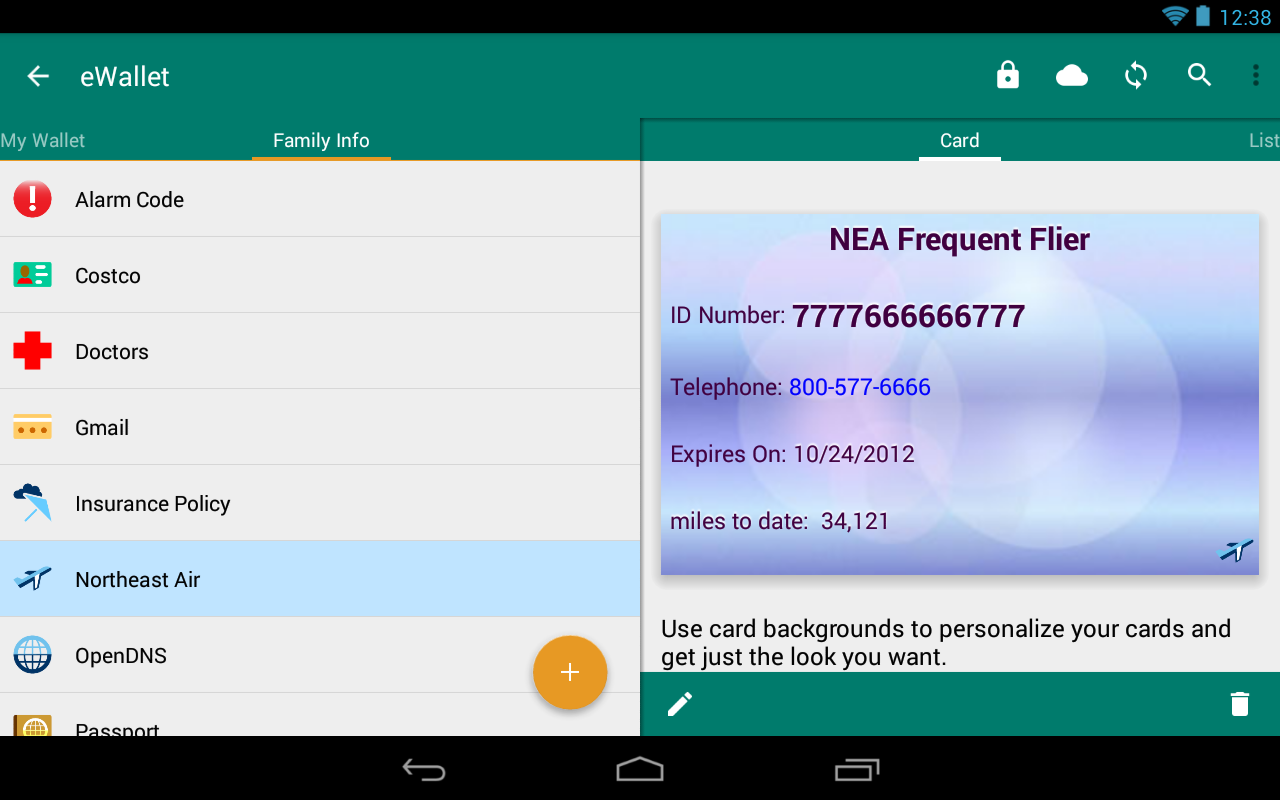 eWallet - Password Manager - screenshot