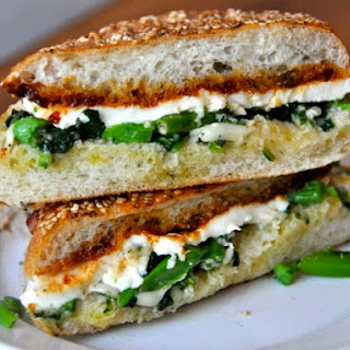 Garlicky Broccoli Rabe, Fresh Mozzarella, and Tomato Jam Sandwich from Cutty's