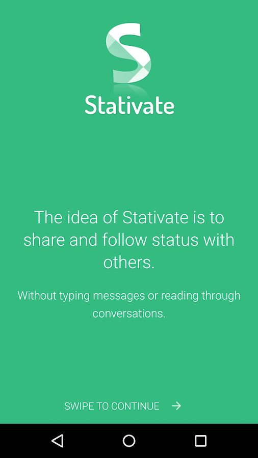 Stativate: Status sharing- screenshot