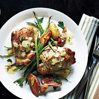 Roasted Chicken Thighs with Mustard-Thyme Sauce.