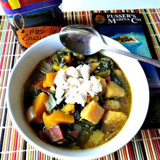 Caribbean Callaloo Soup with Butternut Squash.