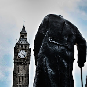 Churchill by Katsuhiro Kaneko - City,  Street & Park  Historic Districts ( canon, eos, uk, england, statue, london, westminster, clck tower, big ben, winston churchill, britain,  )