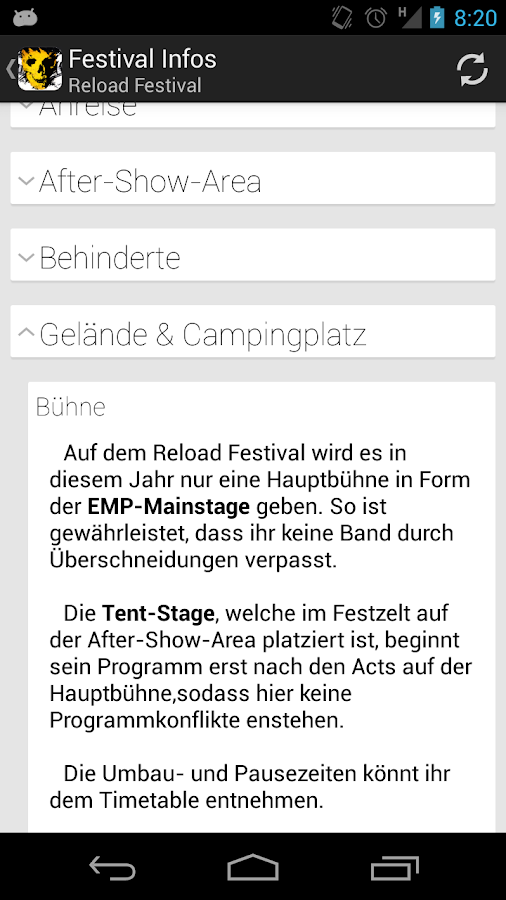 Reload Festival App- screenshot