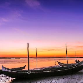Sunset by Paulo Veiga - Landscapes Sunsets & Sunrises ( water, wood, murtosa, 2014, waterscape, sundow, twilight, boats, paulo veiga, pixoto, landscape, ria de aveiro, sunset, portugal, salt,  )