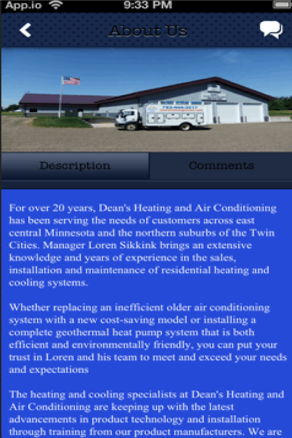 Dean's Heating & A/C, Inc - screenshot