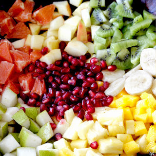 Tropical Winter Salad with Caramelized Cashews and Pomegranate Vinaigrette.