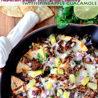 Hawaiian Pulled Pork Skillet Nachos with Pineapple Guacamole (Crock Pot Recipe!).