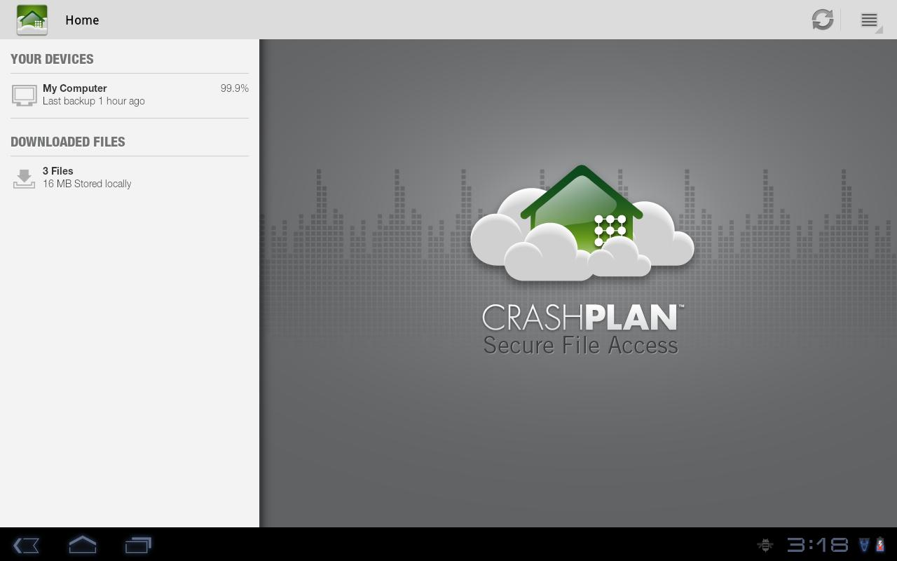 CrashPlan – Capture d'écran