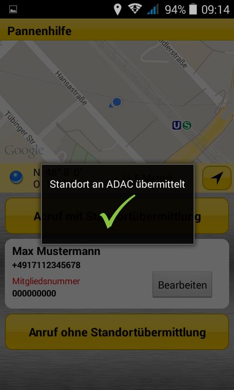 ADAC Pannenhilfe- screenshot