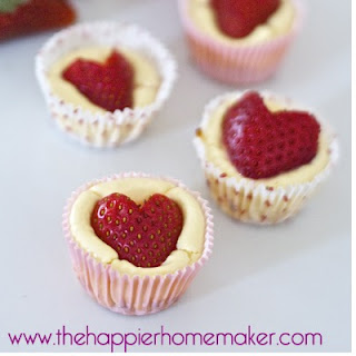 Strawberry Heart Mini Cheesecake Bites
