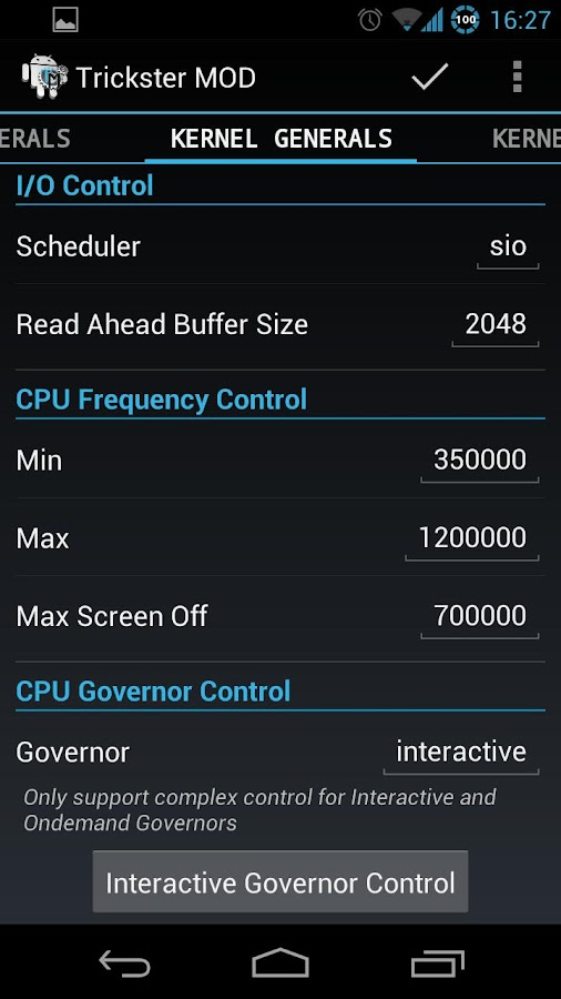 Trickster MOD Kernel Settings- screenshot