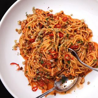 Pasta with Crab, Tomato, and Chilies.