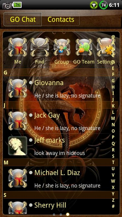 Dragon GO SMS Theme- screenshot