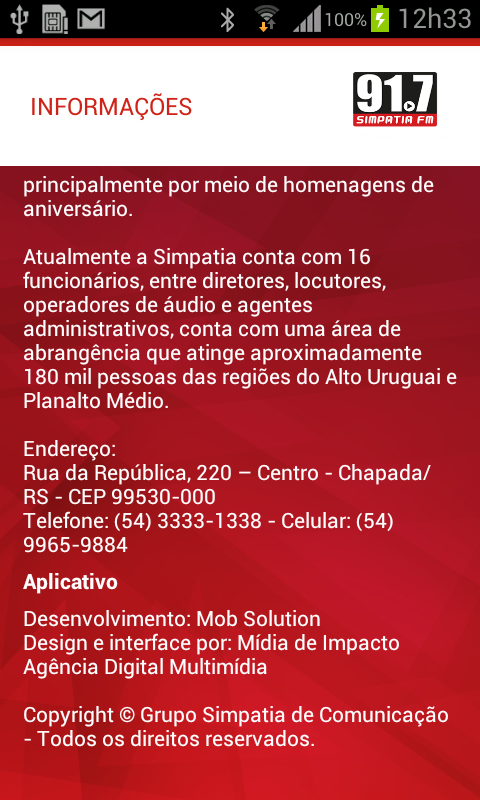 Rádio Simpatia 91.7 FM- screenshot