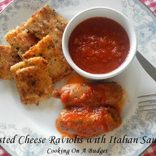 Toasted Cheese Raviolis with Italian Sausage