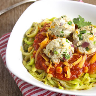 Mexican Zoodles and Jalapeno Popper Turkey Meatballs {Low Carb, Gluten Free & High Protein}
