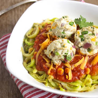 Mexican Zoodles and Jalapeno Popper Turkey Meatballs {Low Carb, Gluten Free & High Protein}.