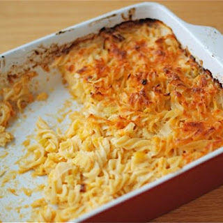 Baked Pasta with Cheddar & Leeks.