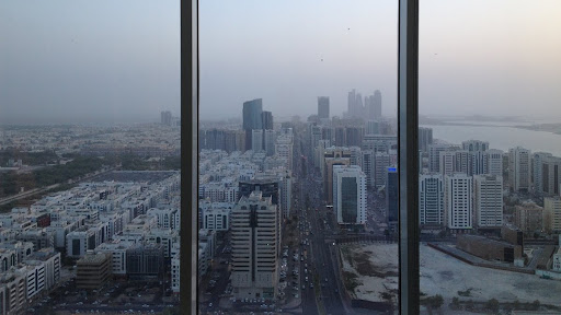 View out our 35th floor window in Abu Dhabi overlooking the Arabian Gulf