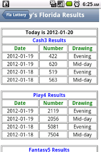 Florida Lottery Lite screenshot 1
