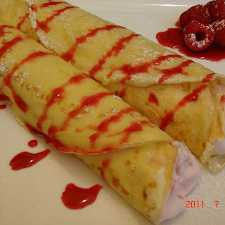 Crepes with Raspberry Fool.