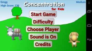 Screenshot of Concentration for Kids