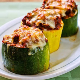 Meat, Tomato, and Mozzarella Stuffed Zucchini Cups.