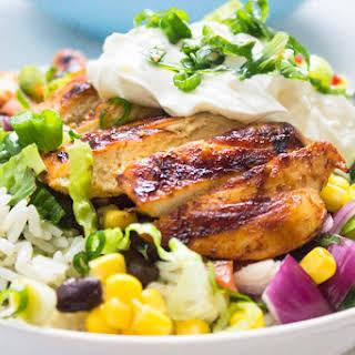 Chipotle's Chicken Burrito Bowl with Cilantro Lime Rice.