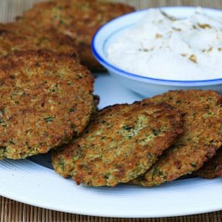 Baked Falafel Patties with Yogurt-Tahini Sauce.