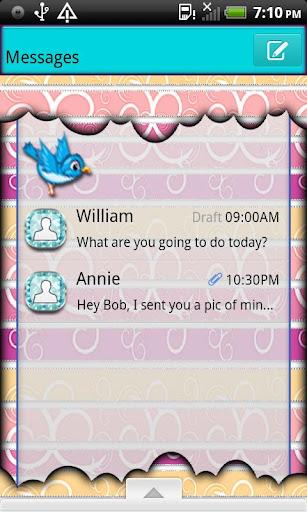 GO SMS THEME BlueBird4U