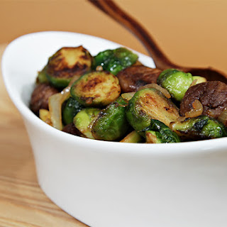 Maple-glazed pan-roasted Brussels sprouts with chestnuts