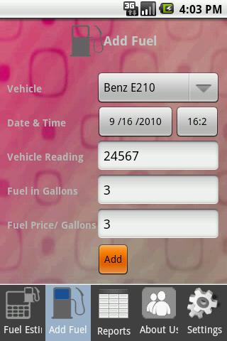 Refill fuel advance - screenshot