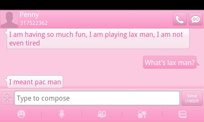 Pink GO SMS Theme- screenshot