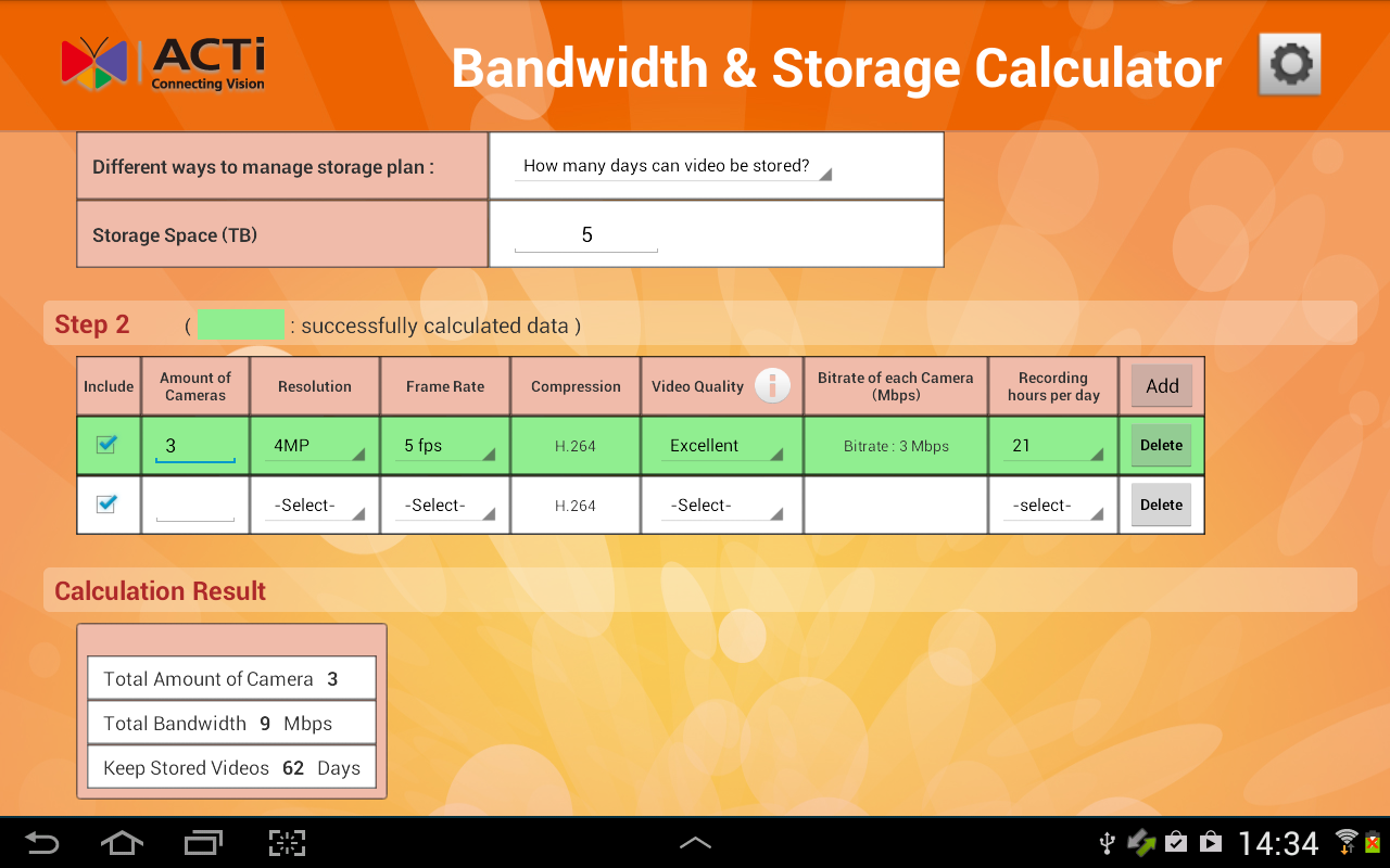 Acti Bandwidth Storage Calc Android Apps On Google Play
