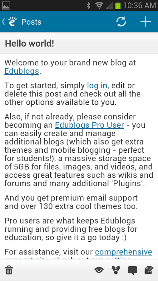 Edublogs- screenshot