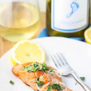 Grilled Salmon with Chardonnay Sauce.