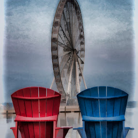 Painting a picture of summer by Deborah Felmey - Artistic Objects Other Objects ( adirondack chairs, chairs, summer, view, waterfront, ferris wheel, pier side,  )