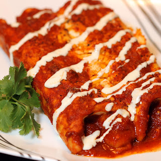 Smoked Pork and Cheese Enchiladas in Red Sauce