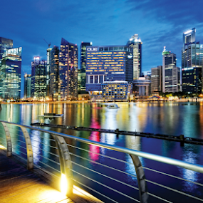 Marina Bay Singapore by William Cho - Buildings & Architecture Architectural Detail ( promenade, bayfront, events, blue hour, buildings, reflections, tourism, architecture, financial centre, marina bay, singapore, attraction )