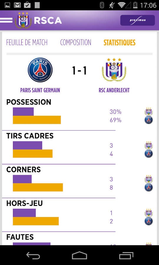 RSCA Official by Proximus- screenshot