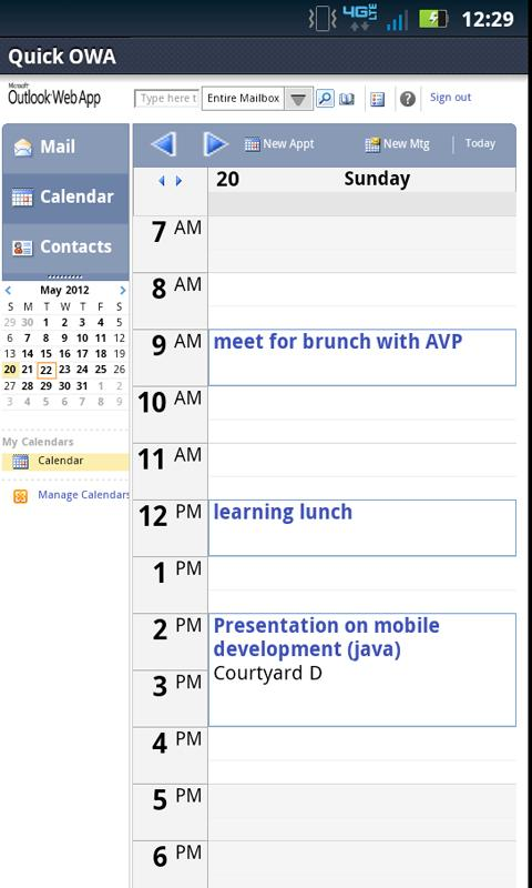 Outlook Live Web App Mobile - screenshot