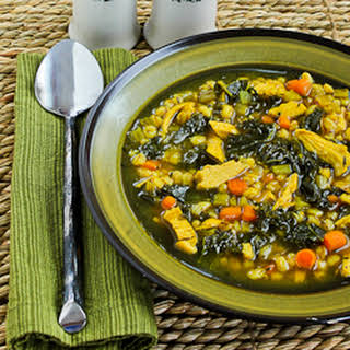 Chicken Soup with Farro, Kale, and Turmeric.
