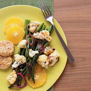 Roasted Veggie Salad with Goat Cheese Cakes.