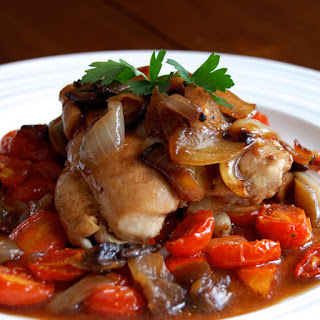 Balsamic Chicken with Roasted Tomatoes.