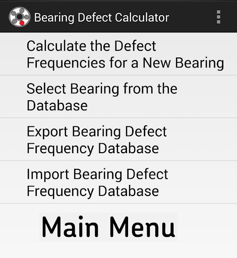 Bearing Defect Calculator
