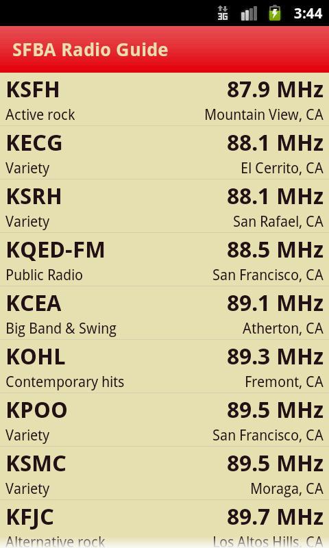 SFBA Radio Guide- screenshot