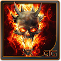 Skull In Fire Battery LWP icon